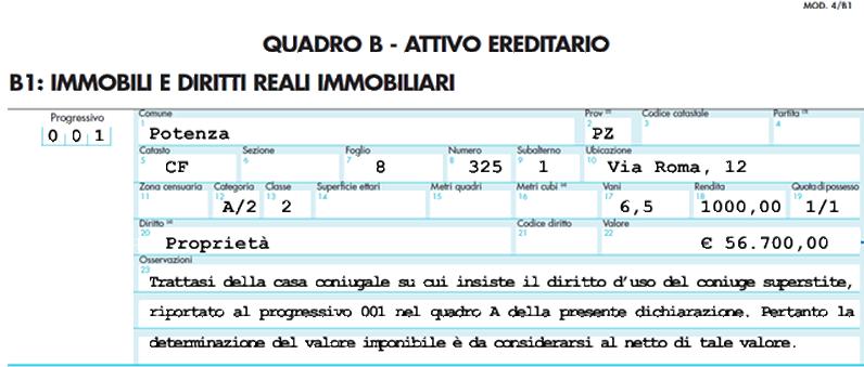 esempio di compilazione del quadro del Mod. 4 del bene immobile oggetto di trasferimento