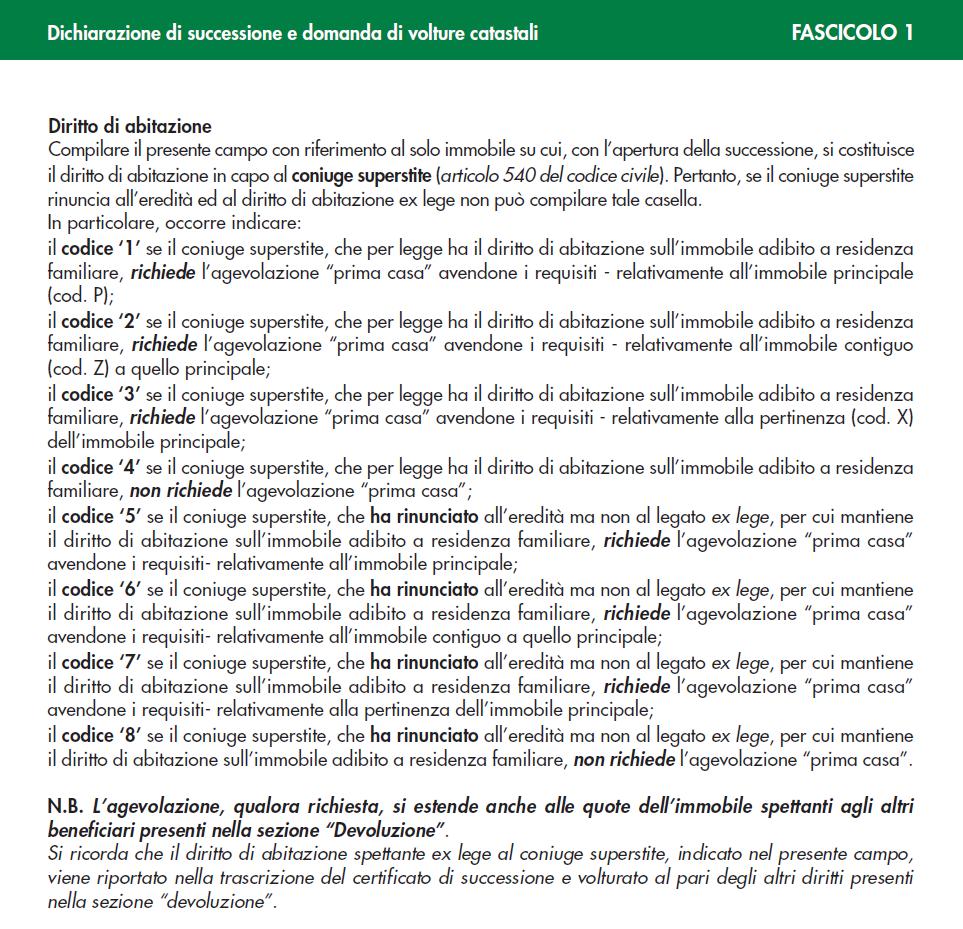 estratto dalle istruzioni di compilazione della nuova dichiarazione di successione telematica
