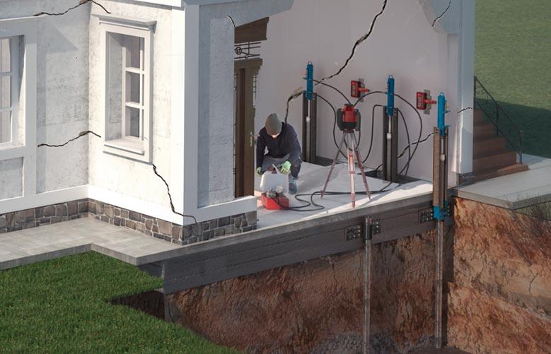Stabilizzare gli edifici che hanno subito un cedimento strutturale delle fondazioni