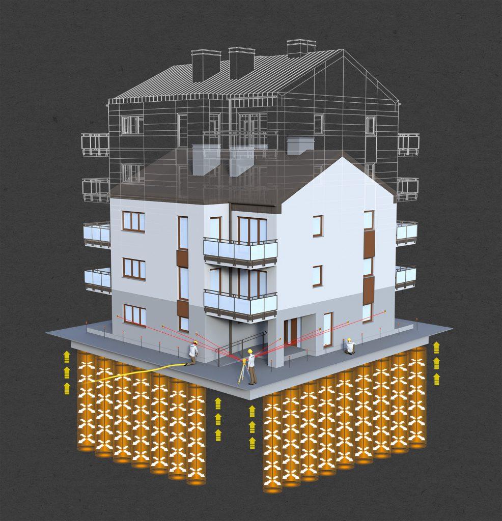 Sopraelevazioni di edifici e consolidamento del terreno